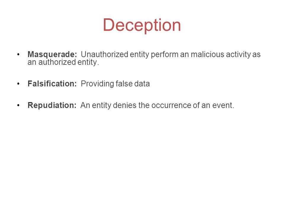 Deception Masquerade: Unauthorized entity perform an malicious activity as an authorized entity. Falsification: Providing false data Repudiation: An e