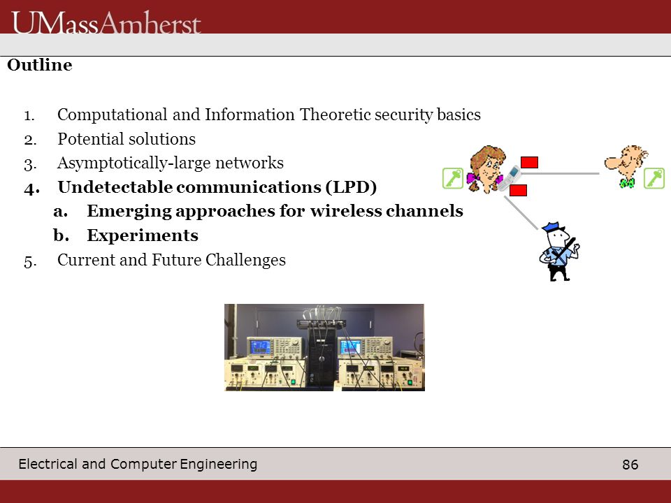 86 Electrical and Computer Engineering Outline 1.Computational and Information Theoretic security basics 2.Potential solutions 3.Asymptotically-large networks 4.Undetectable communications (LPD) a.Emerging approaches for wireless channels b.Experiments 5.Current and Future Challenges