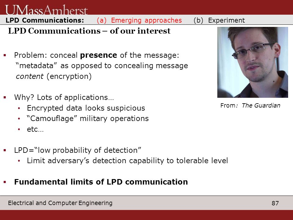 87 Electrical and Computer Engineering LPD Communications – of our interest  Problem: conceal presence of the message: metadata as opposed to concealing message content (encryption)  Why.