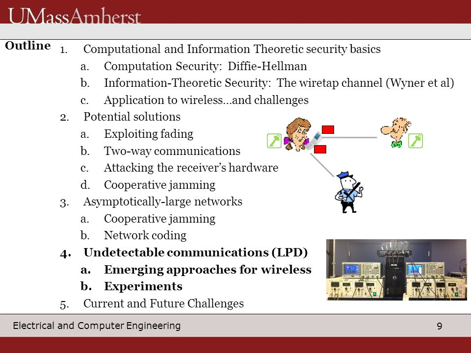 9 Electrical and Computer Engineering Outline 1.Computational and Information Theoretic security basics a.Computation Security: Diffie-Hellman b.Information-Theoretic Security: The wiretap channel (Wyner et al) c.Application to wireless…and challenges 2.Potential solutions a.