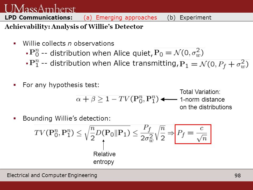 98 Electrical and Computer Engineering Achievability: Analysis of Willie's Detector  Willie collects n observations -- distribution when Alice quiet, -- distribution when Alice transmitting,  For any hypothesis test:  Bounding Willie's detection: Total Variation: 1-norm distance on the distributions Relative entropy LPD Communications: (a) Emerging approaches (b) Experiment