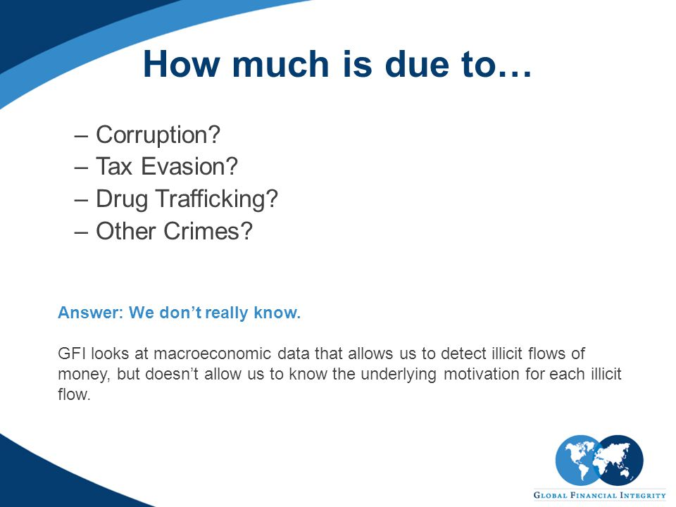 How much is due to… –Corruption.–Tax Evasion. –Drug Trafficking.