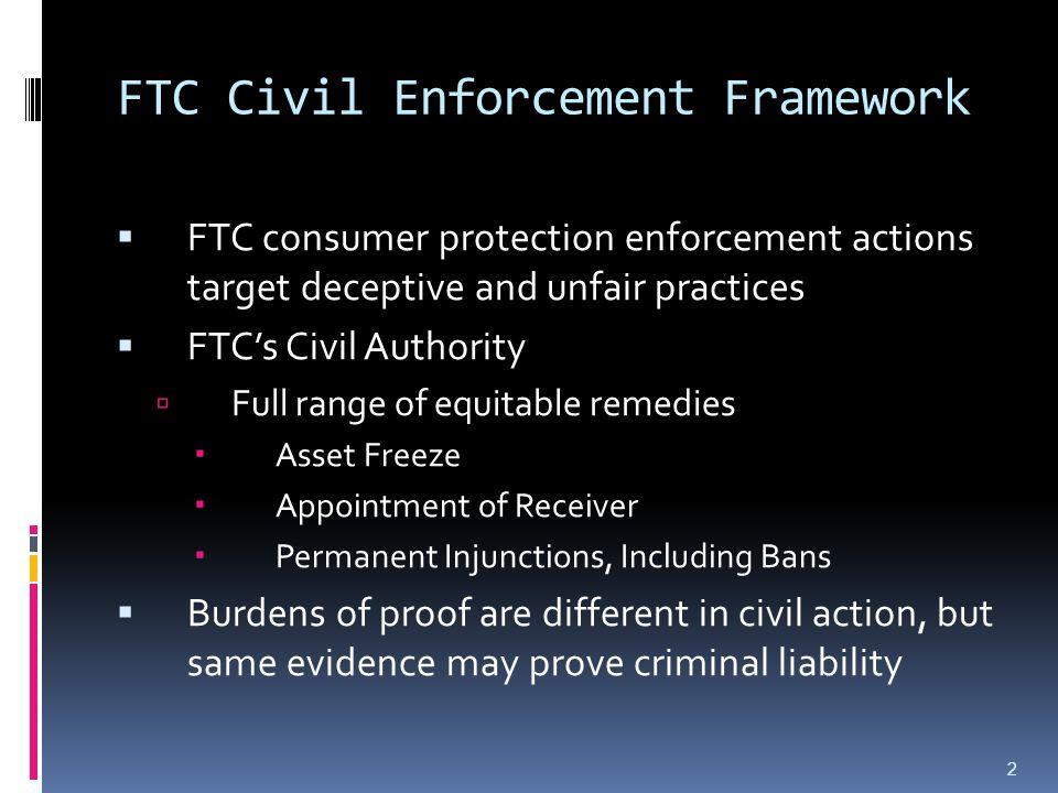 FTC Civil Enforcement Framework  FTC consumer protection enforcement actions target deceptive and unfair practices  FTC's Civil Authority  Full ran