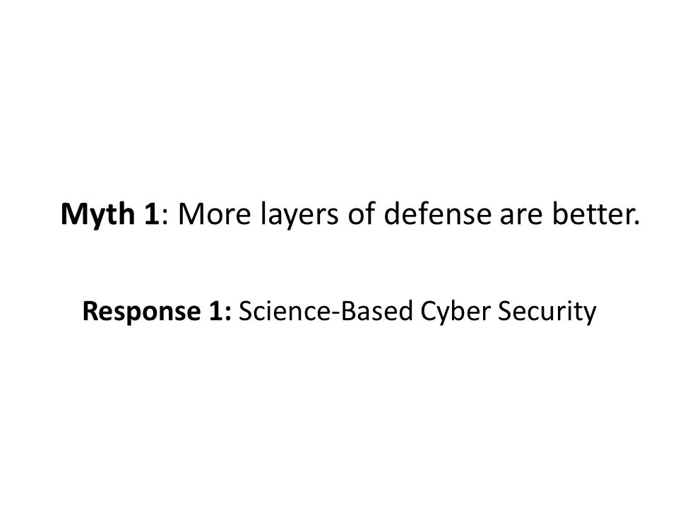 Myth 1: More layers of defense are better. Response 1: Science-Based Cyber Security