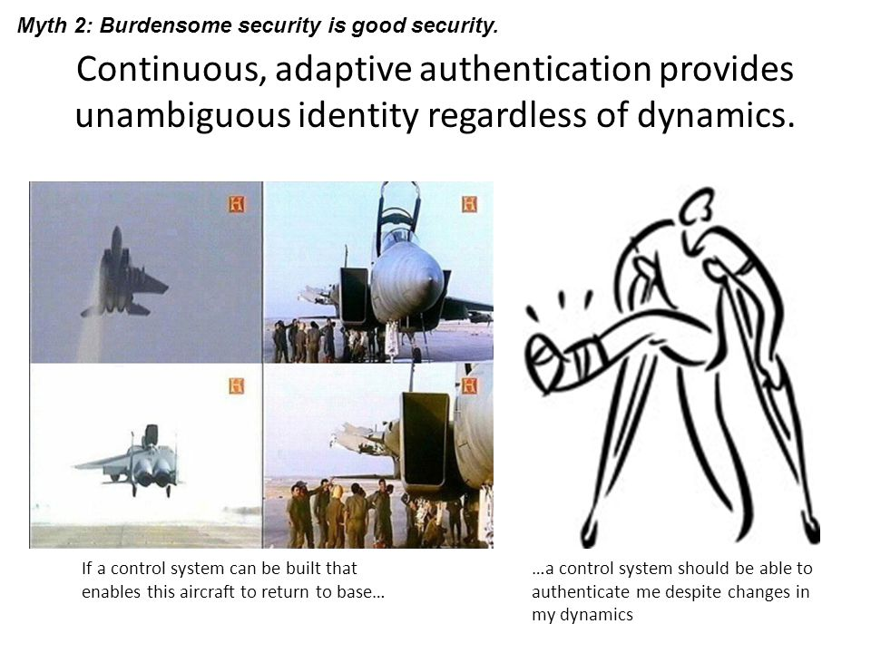 Continuous, adaptive authentication provides unambiguous identity regardless of dynamics. If a control system can be built that enables this aircraft