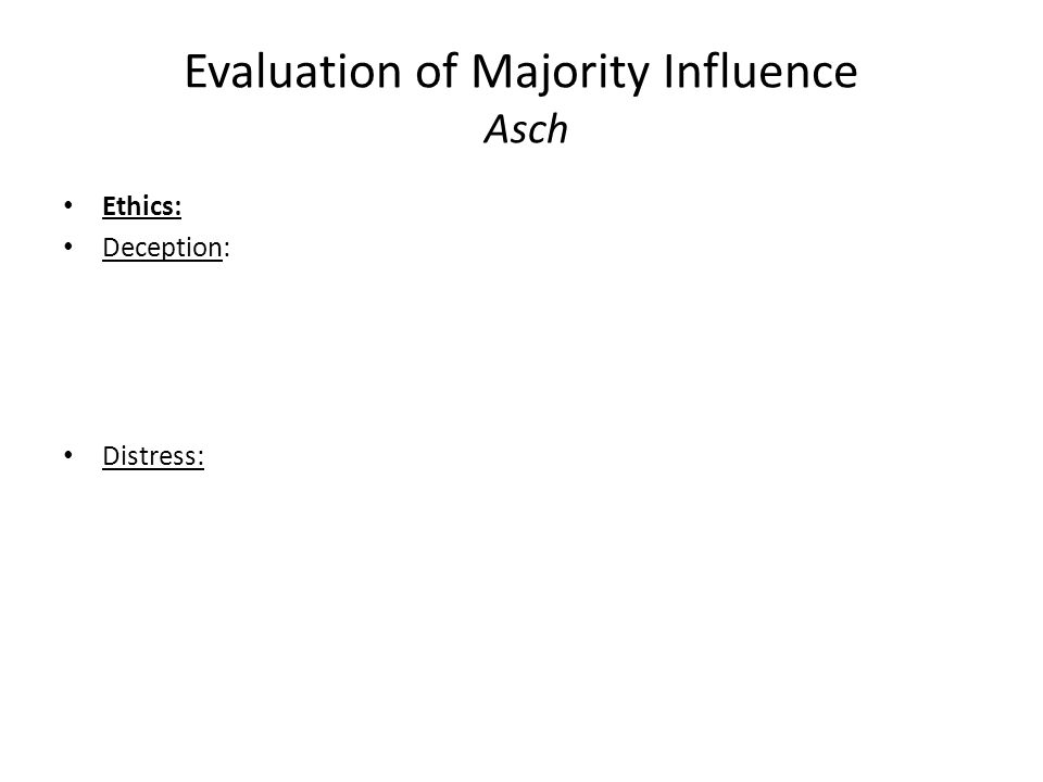 Evaluation of Majority Influence Asch Ethics: Deception: Distress: