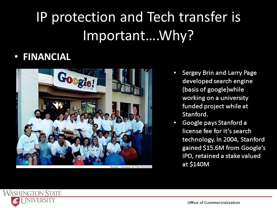 IP protection and Tech transfer is Important….Why? Sergey Brin and Larry Page developed search engine (basis of google)while working on a university f