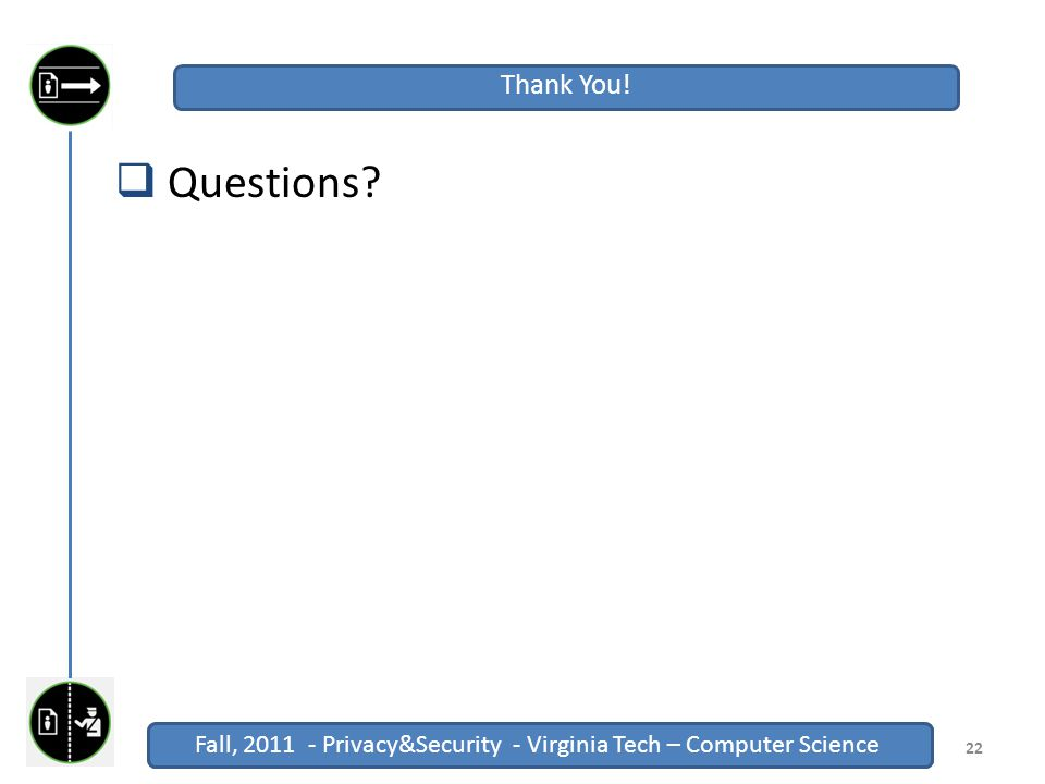 Fall, 2011 - Privacy&Security - Virginia Tech – Computer Science Click to edit Master title style Fall, 2011 - Privacy&Security - Virginia Tech – Computer Science  Questions.