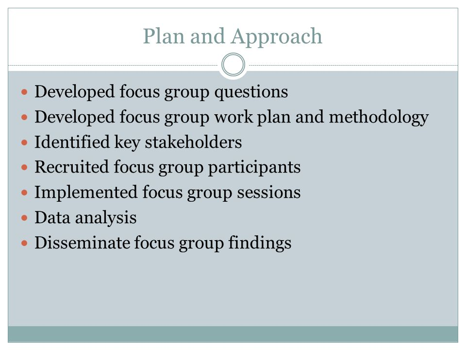 Plan and Approach Developed focus group questions Developed focus group work plan and methodology Identified key stakeholders Recruited focus group pa