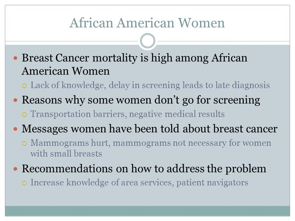 African American Women Breast Cancer mortality is high among African American Women  Lack of knowledge, delay in screening leads to late diagnosis Reasons why some women don't go for screening  Transportation barriers, negative medical results Messages women have been told about breast cancer  Mammograms hurt, mammograms not necessary for women with small breasts Recommendations on how to address the problem  Increase knowledge of area services, patient navigators