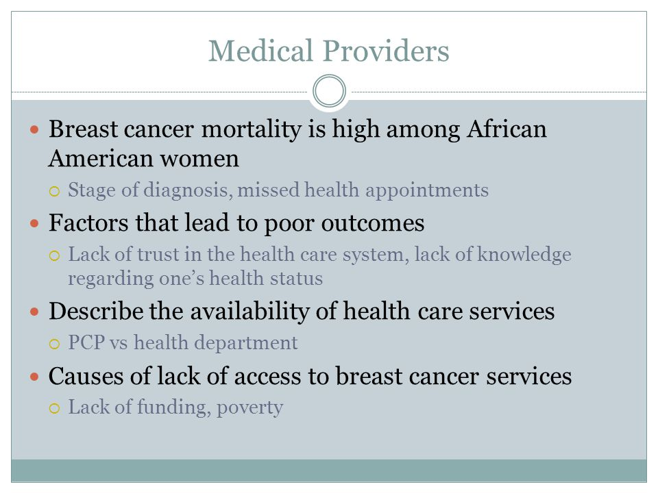 Medical Providers Breast cancer mortality is high among African American women  Stage of diagnosis, missed health appointments Factors that lead to poor outcomes  Lack of trust in the health care system, lack of knowledge regarding one's health status Describe the availability of health care services  PCP vs health department Causes of lack of access to breast cancer services  Lack of funding, poverty