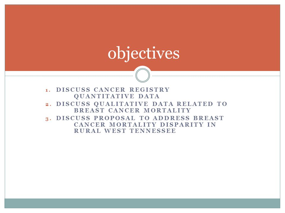 1. DISCUSS CANCER REGISTRY QUANTITATIVE DATA 2.