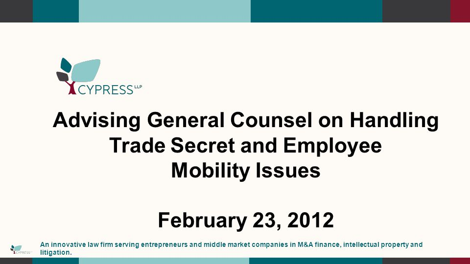 Advising General Counsel on Handling Trade Secret and Employee Mobility Issues February 23, 2012 An innovative law firm serving entrepreneurs and middle market companies in M&A finance, intellectual property and litigation.