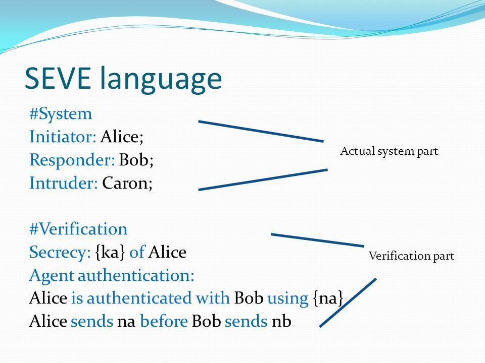 SEVE language #System Initiator: Alice; Responder: Bob; Intruder: Caron; #Verification Secrecy: {ka} of Alice Agent authentication: Alice is authenticated with Bob using {na} Alice sends na before Bob sends nb Actual system part Verification part