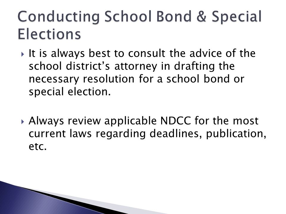  NDCC 15.1-07-03 speaks to the District's limit of indebtedness. ◦ The board of a school district may by resolution place on the ballot of any regula