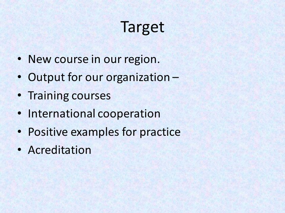 Target New course in our region.