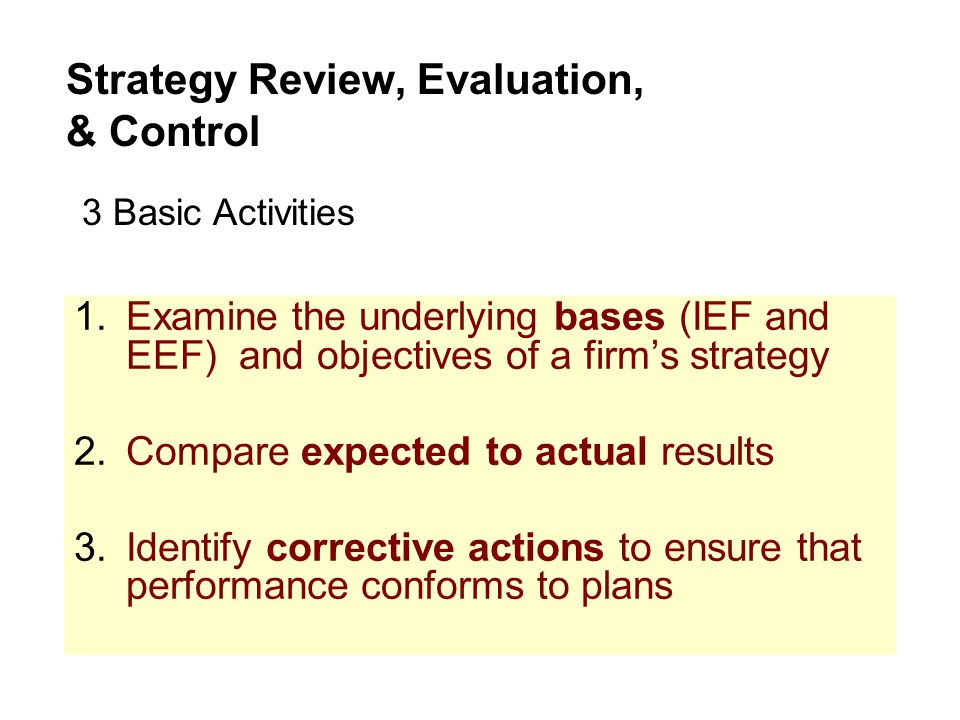 1.Examine the underlying bases (IEF and EEF) and objectives of a firm's strategy 2.Compare expected to actual results 3.Identify corrective actions to ensure that performance conforms to plans Strategy Review, Evaluation, & Control 3 Basic Activities