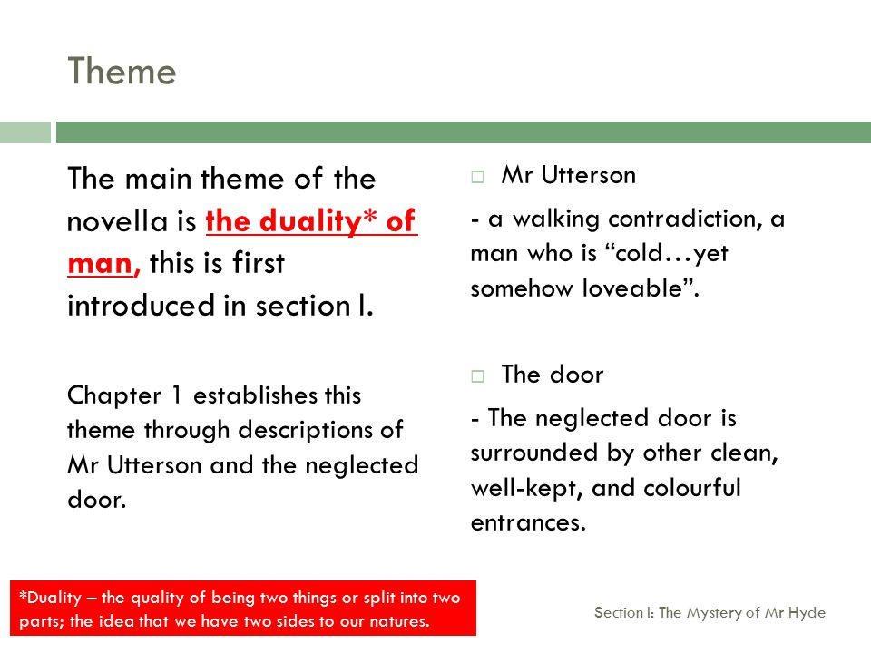 Theme Task One Find 4 quotations (2 pairs) from chapter one that illustrate the contrast between the neglected door and the surrounding street.