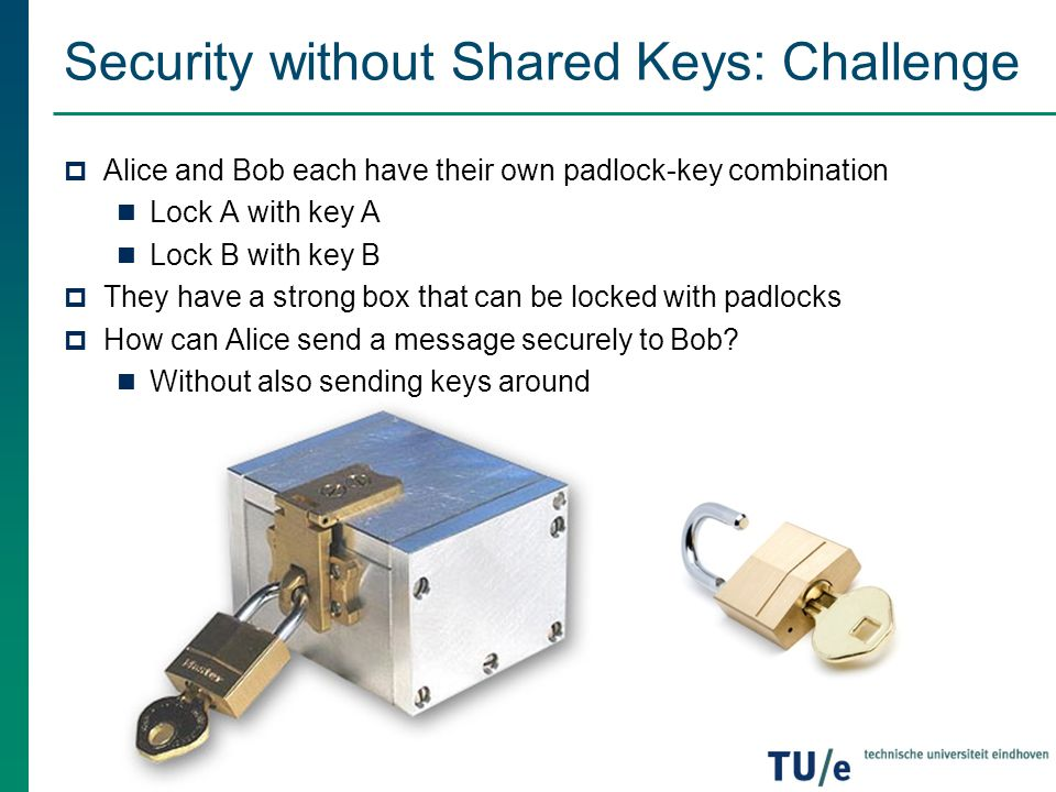 Security without Shared Keys: Challenge  Alice and Bob each have their own padlock-key combination Lock A with key A Lock B with key B  They have a