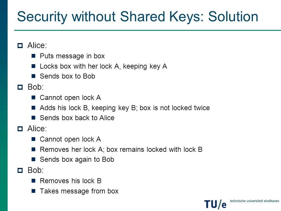 Security without Shared Keys: Solution  Alice: Puts message in box Locks box with her lock A, keeping key A Sends box to Bob  Bob: Cannot open lock