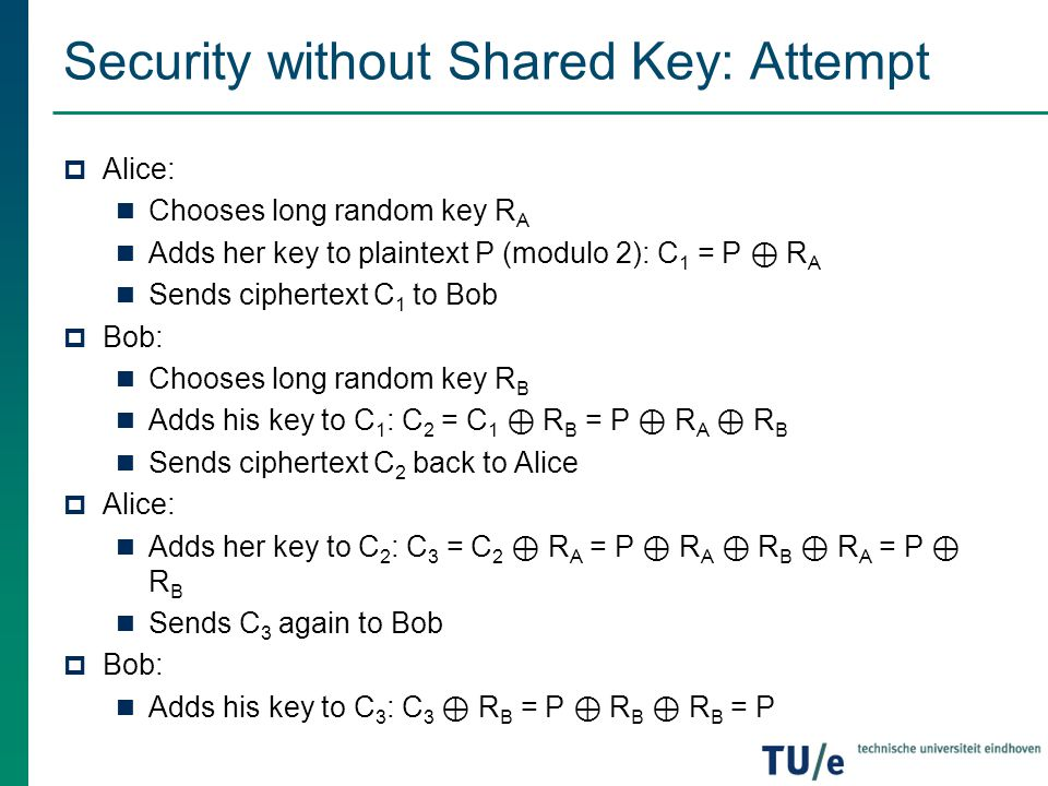 Security without Shared Key: Attempt  Alice: Chooses long random key R A Adds her key to plaintext P (modulo 2): C 1 = P ⊕ R A Sends ciphertext C 1 t