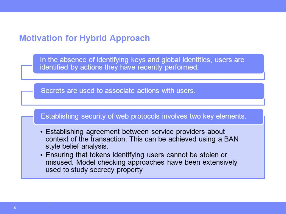 © Copyright IBM Corporation 2011 Motivation for Hybrid Approach 5 In the absence of identifying keys and global identities, users are identified by ac