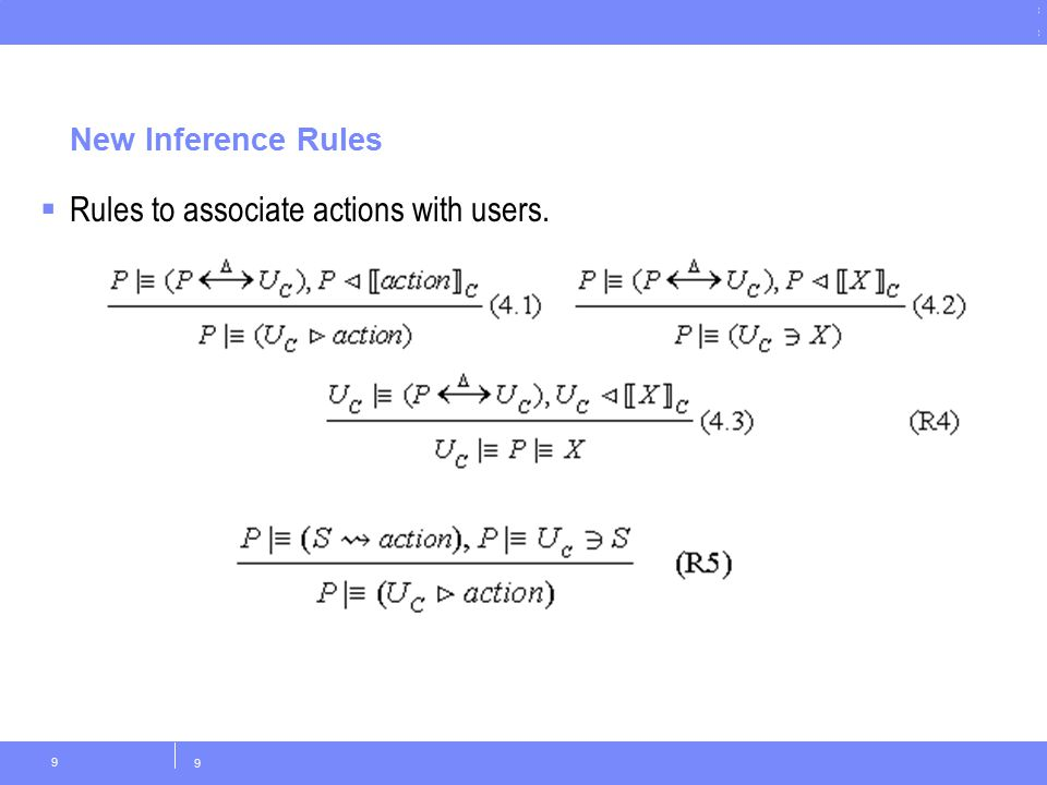 © Copyright IBM Corporation 2011 New Inference Rules 9 9  Rules to associate actions with users.