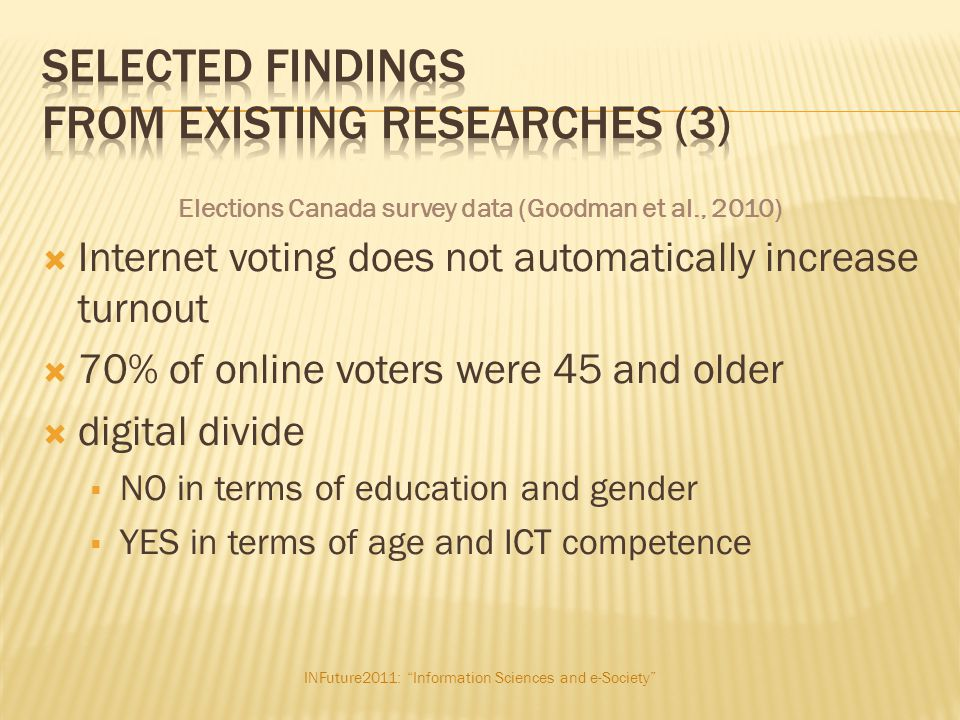 """INFuture2011: """"Information Sciences and e-Society""""  Internet voting does not automatically increase turnout  70% of online voters were 45 and older"""
