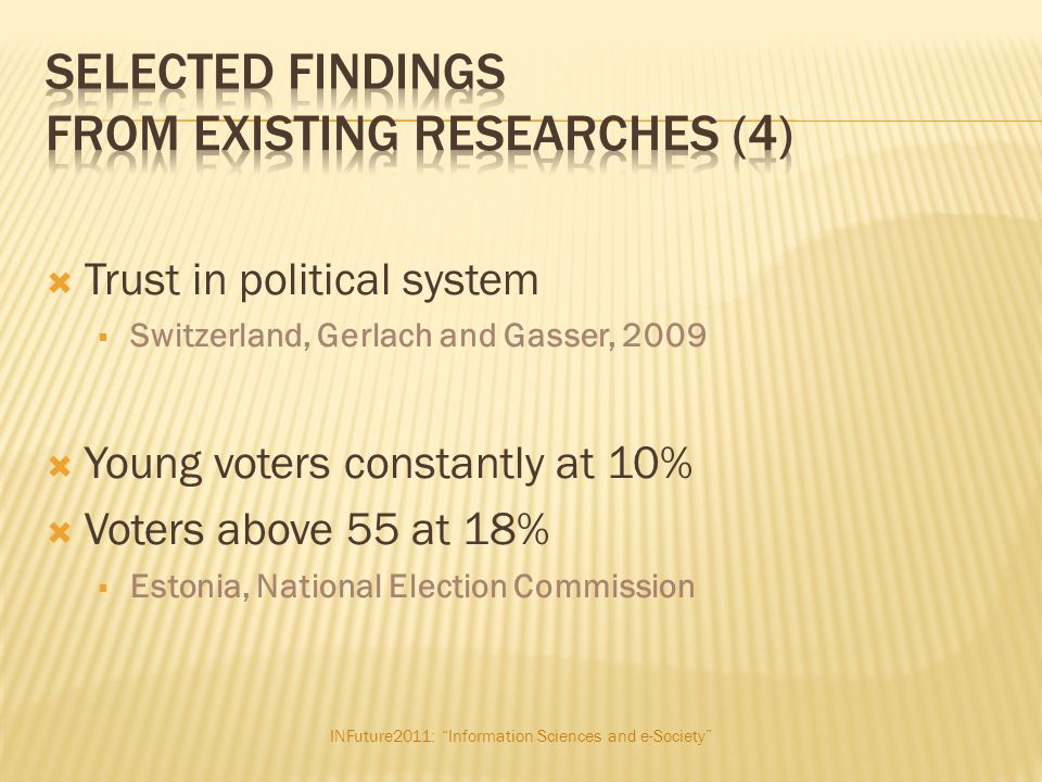 """INFuture2011: """"Information Sciences and e-Society""""  Trust in political system  Switzerland, Gerlach and Gasser, 2009  Young voters constantly at 10"""