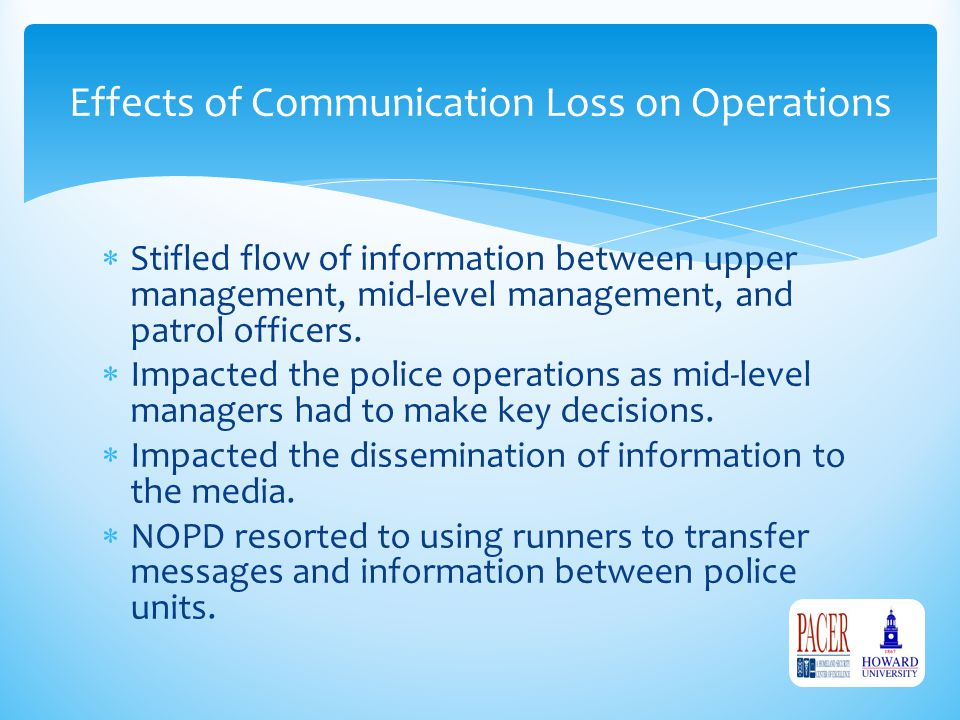 Effects of Communication Loss on Operations  Stifled flow of information between upper management, mid-level management, and patrol officers.  Impac