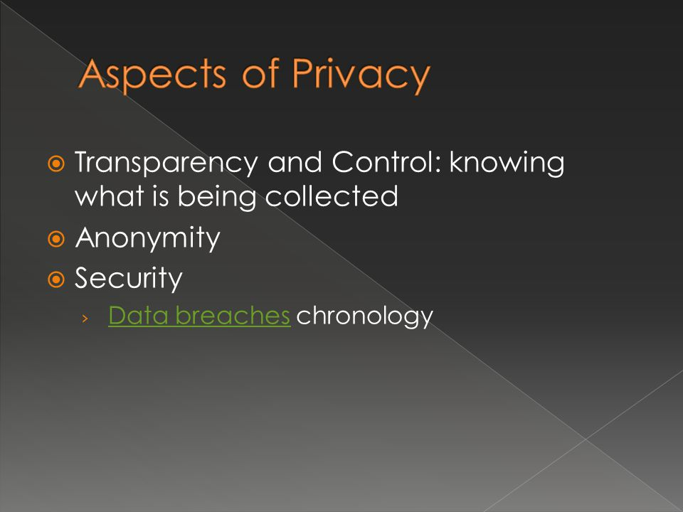  Transparency and Control: knowing what is being collected  Anonymity  Security › Data breaches chronology Data breaches