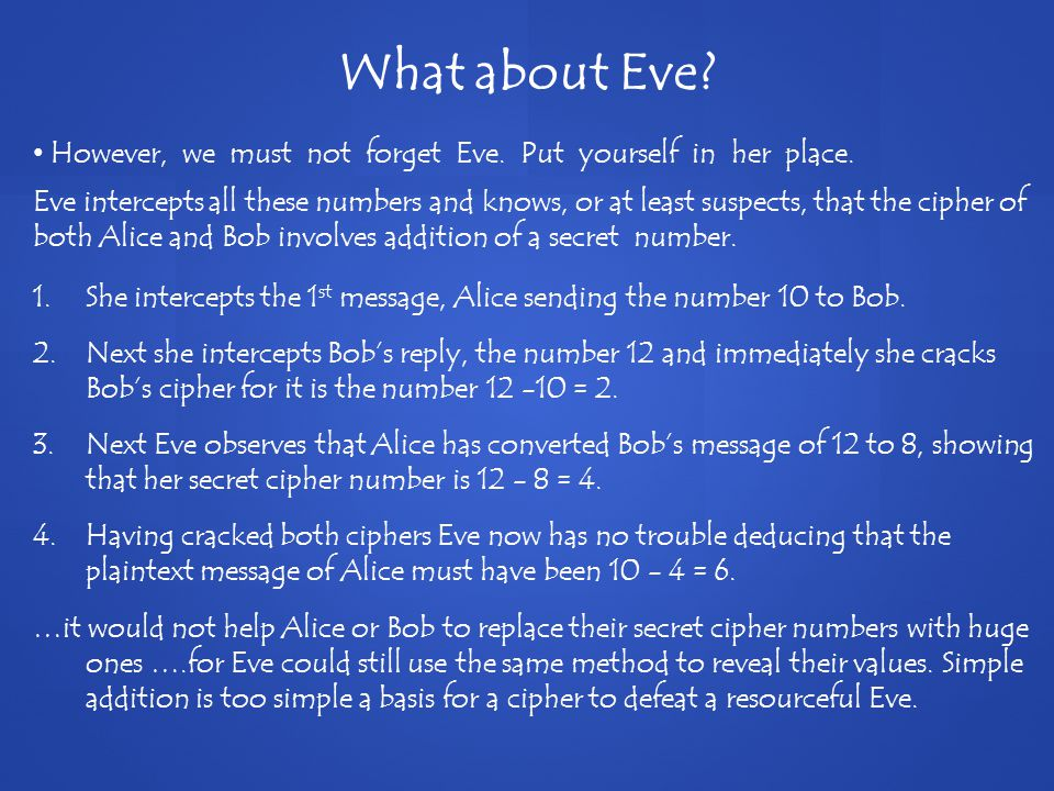 However, we must not forget Eve. Put yourself in her place.