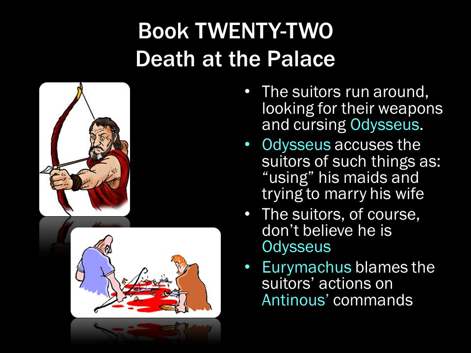 Book TWENTY-TWO Death at the Palace The suitors run around, looking for their weapons and cursing Odysseus. Odysseus accuses the suitors of such thing