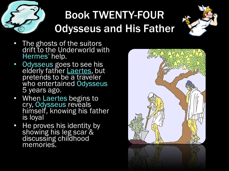 Book TWENTY-FOUR Odysseus and His Father The ghosts of the suitors drift to the Underworld with Hermes' help. Odysseus goes to see his elderly father