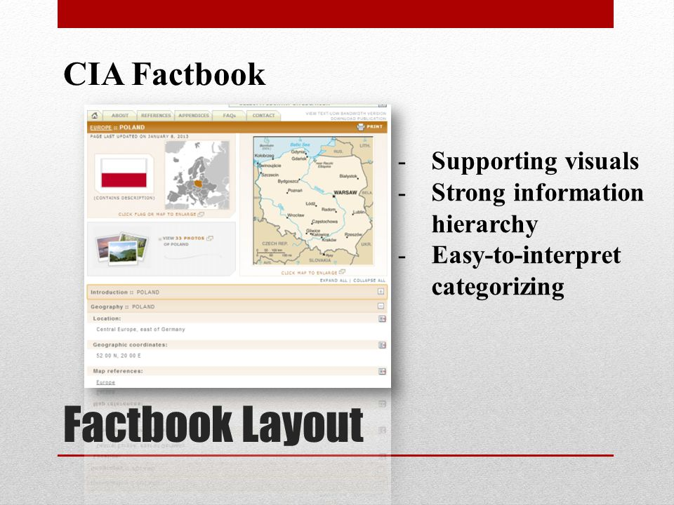 Factbook Layout CIA Factbook -Supporting visuals -Strong information hierarchy -Easy-to-interpret categorizing