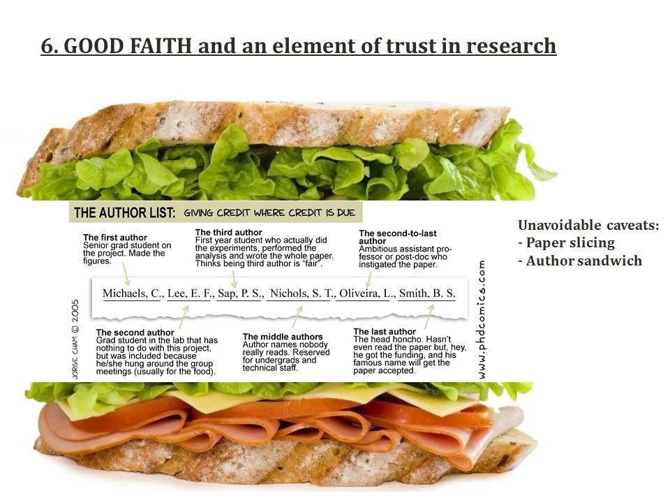 6. GOOD FAITH and an element of trust in research Unavoidable caveats: - Paper slicing - Author sandwich