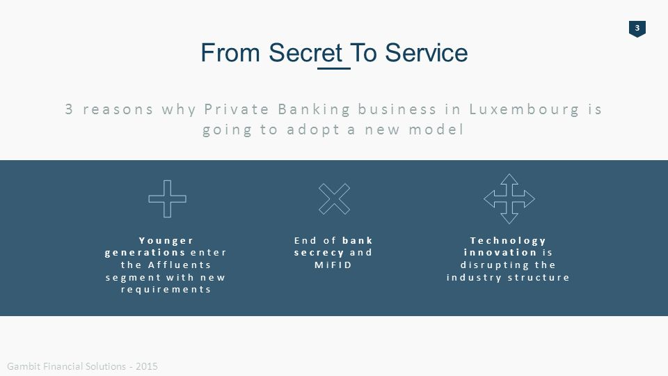 From Secret To Service 3 reasons why Private Banking business in Luxembourg is going to adopt a new model Younger generations enter the Affluents segment with new requirements End of bank secrecy and MiFID Technology innovation is disrupting the industry structure 3 Gambit Financial Solutions - 2015