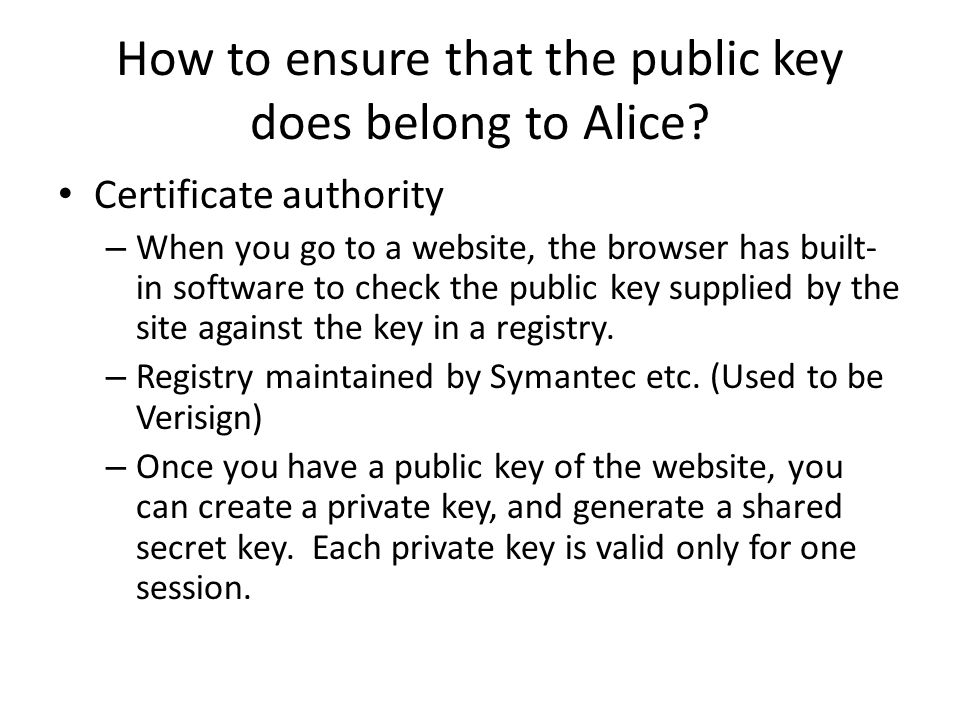How to ensure that the public key does belong to Alice.