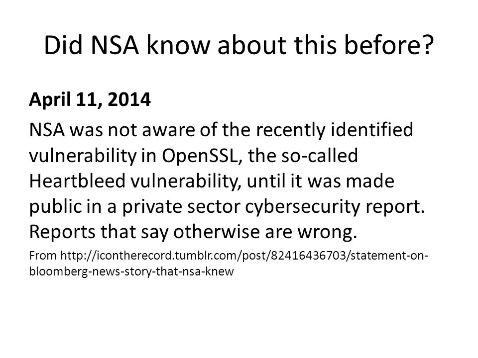 Did NSA know about this before.