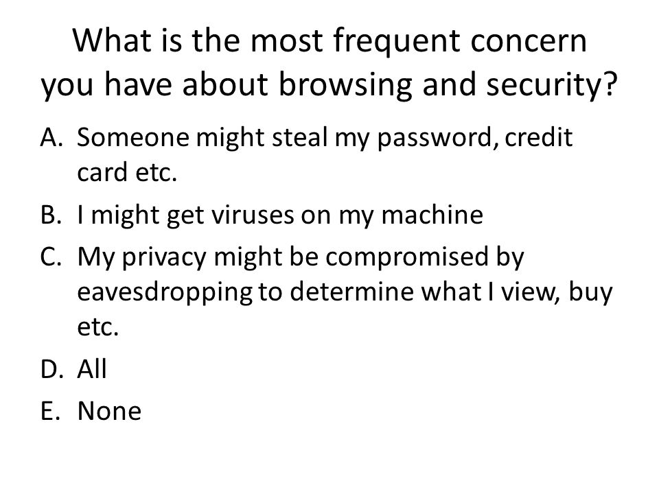 What is the most frequent concern you have about browsing and security.