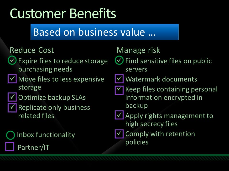 Customer Benefits Reduce Cost Expire files to reduce storage purchasing needs Move files to less expensive storage Optimize backup SLAs Replicate only business related files Manage risk Find sensitive files on public servers Watermark documents Keep files containing personal information encrypted in backup Apply rights management to high secrecy files Comply with retention policies Based on business value … Inbox functionality Partner/IT