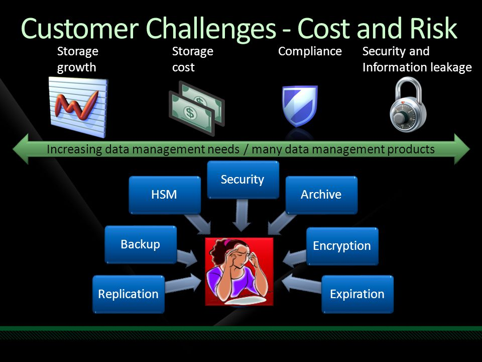 Customer Challenges - Cost and Risk Storage growth Storage cost ComplianceSecurity and Information leakage Increasing data management needs / many dat