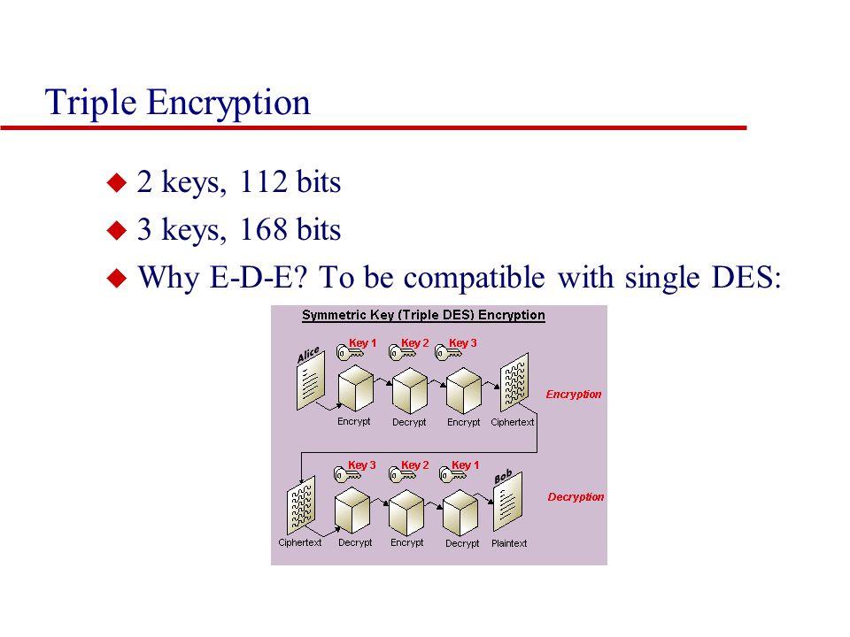 Triple Encryption u 2 keys, 112 bits u 3 keys, 168 bits u Why E-D-E.