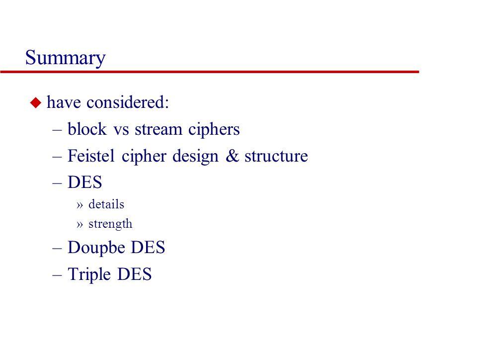 Summary u have considered: –block vs stream ciphers –Feistel cipher design & structure –DES »details »strength –Doupbe DES –Triple DES