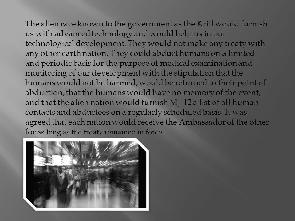 It was further agreed that the Alien Nation and the United States would exchange 16 personnel each to the other with the purpose of learning, each of the other.