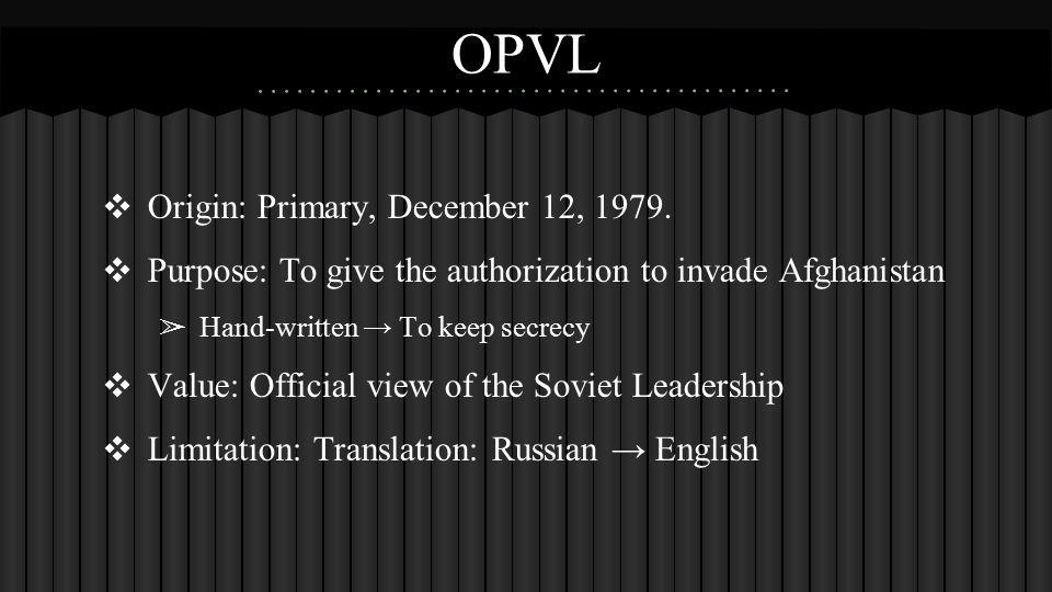 OPVL ❖ Origin: Primary, December 12, 1979.