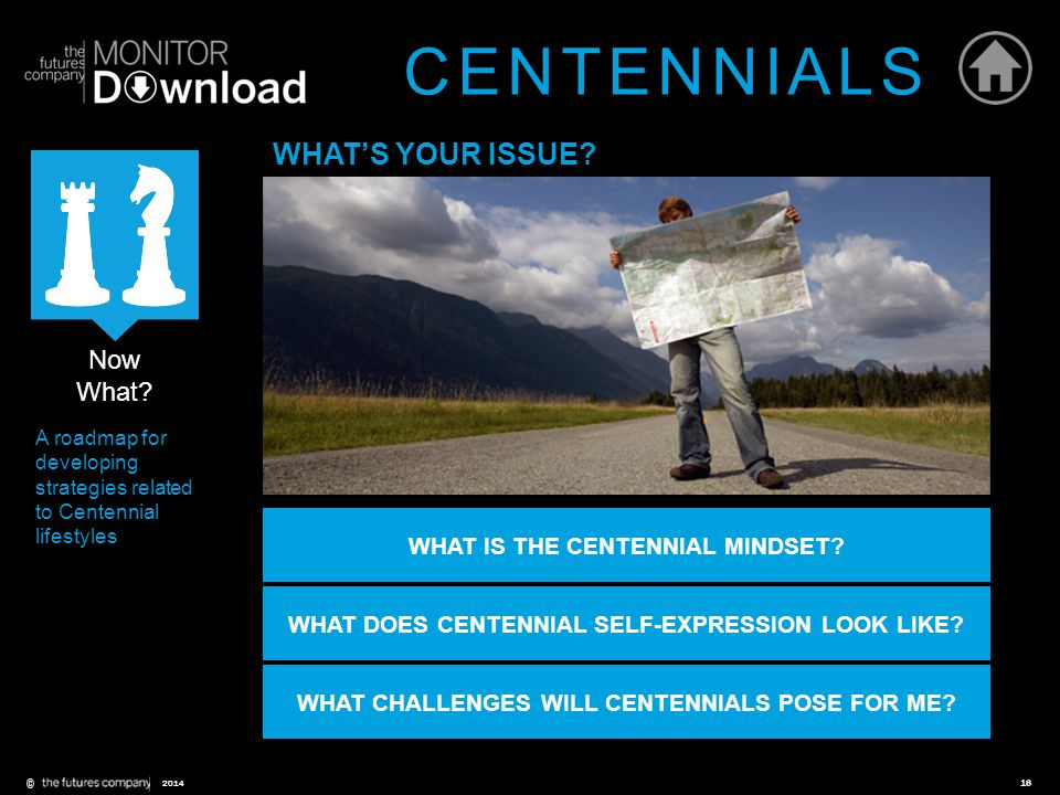 ©18 2014 Now What? A roadmap for developing strategies related to Centennial lifestyles WHAT'S YOUR ISSUE? WHAT IS THE CENTENNIAL MINDSET? WHAT DOES C