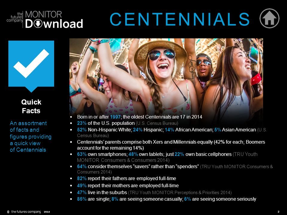 ©2 2014 Quick Facts An assortment of facts and figures providing a quick view of Centennials  Born in or after 1997; the oldest Centennials are 17 in