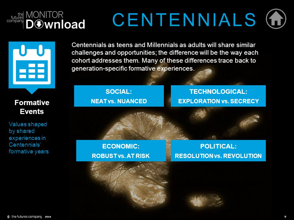 ©9 2014 Centennials as teens and Millennials as adults will share similar challenges and opportunities; the difference will be the way each cohort add