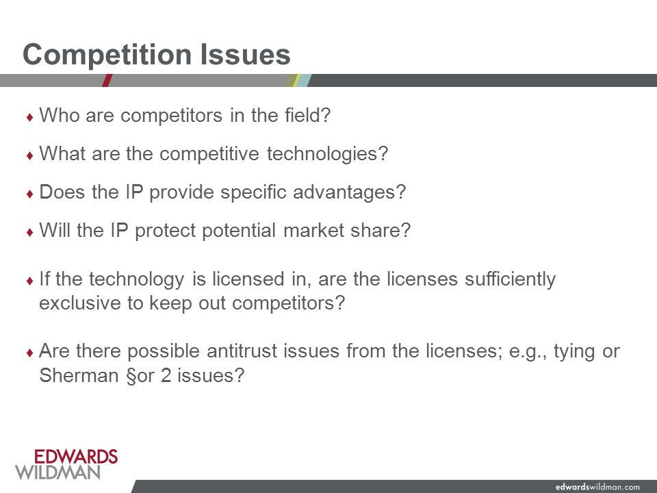 Competition Issues ♦ Who are competitors in the field.